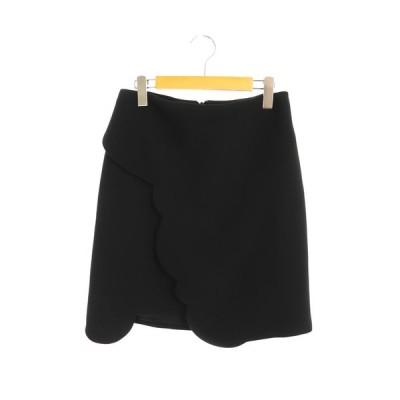 【中古】カルヴェン CARVEN スカラップデザインスカート 台形 膝丈 38 黒 /AA ■OS ■SH レディース 【ベクトル 古着】
