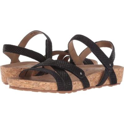 ウォーキング クレードル Walking Cradles レディース サンダル・ミュール シューズ・靴 Pool Black Matte Snake Print/Cork Wrap