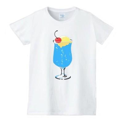 クリームソーダ 食べ物 野菜 スイーツ Tシャツ 白 レディース 女性用 jts22
