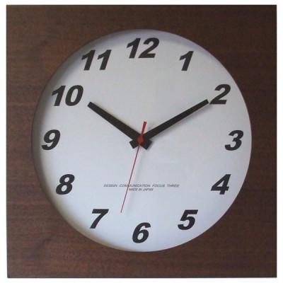 フォーカス・スリー 掛け時計Focus Three ウォールナットの時計(ブラウン) V-0019(BR) 返品種別A