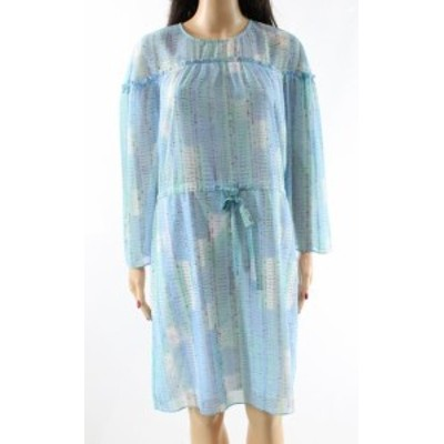Ruffle  ファッション ドレス Halston NEW Blue Womens Size Small S Drawstring Ruffle Sheath Dress