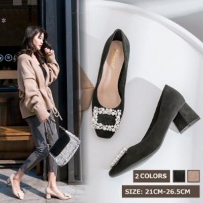 パンプス レディースシューズ スクエアートゥパンプス 歩きやすい 婦人靴 大きいサイズ ローヒール 痛くない 太ヒール 履きやすい 通学通