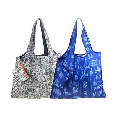 エコバッグ 折りたたみ 大きい 2個セット 肩掛け コンパクト おしゃれ 買い物袋 大容量 ギフト用 BDST11-WB …
