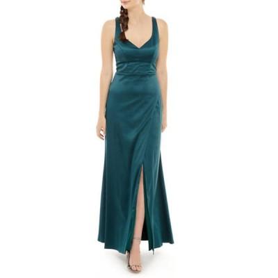 シークインハーツ レディース ワンピース トップス Women's Sleeveless Solid Satin Gown