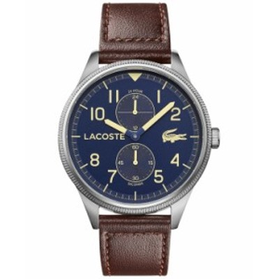 ラコステ メンズ 腕時計 アクセサリー Men's Continental Brown Leather Strap Watch 44mm Brown