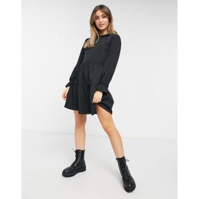 ニュールック New Look レディース ワンピース ミニ丈 ワンピース・ドレス collar detail smock mini dress in black ブラック