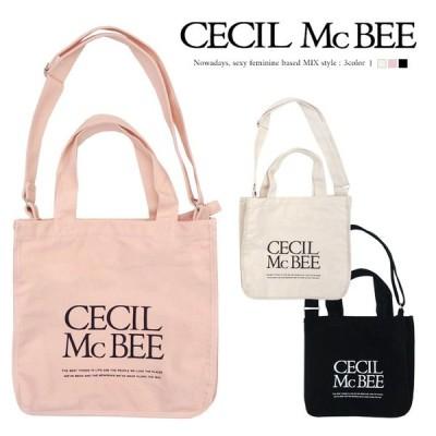 CECIL McBEE ロゴ マチ付き トート ショルダー 2way バッグ A4 セシルマクビー レディース 人気 /メール便不可