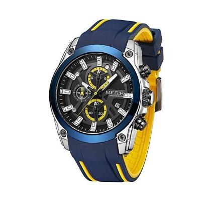 MEGIR メンズ腕時計 2020 ファッション 豪華 スポーツウォッチ メンズ 防水 シリコンストラップ ミリタリークォーツウォッチ 夜光クロノグラ