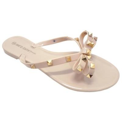 レディース 靴 サンダル Wild Diva brand of Joanie172 Womens Slingback T Strap Jelly flip Flop Ankle Strap Thong Sandals (Rivets)