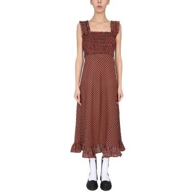 ガニー レディース ワンピース トップス Ganni Seersucker Check Maxi Dress -
