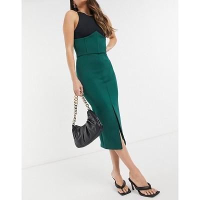 トゥルーヴァイオレット True Violet レディース ワンピース ミドル丈 exclusive midi skirt with split and detailed waist in forest green