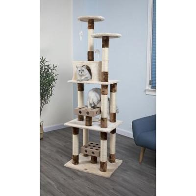Go Pet Club ゴーペットクラブ ペットグッズ 猫用品 74-in IQ Busy Box Cat Tree Condo, Beige