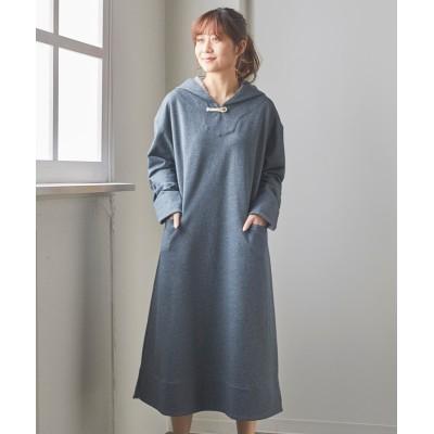 大きいサイズ ストライプ生地使いロングパーカーワンピース ,スマイルランド, ワンピース, plus size dress