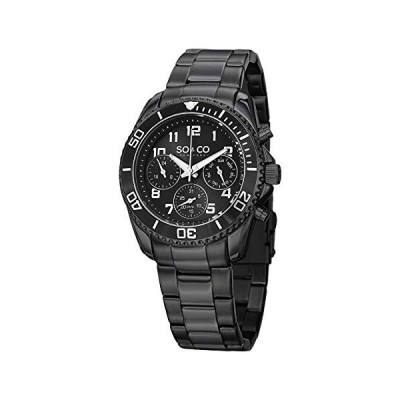 "SO&CO New York Mens""Specialty Yacht Timer"" Stainless Steel Black Multifunction Quartz Dive Watch with Date 並行輸入品"