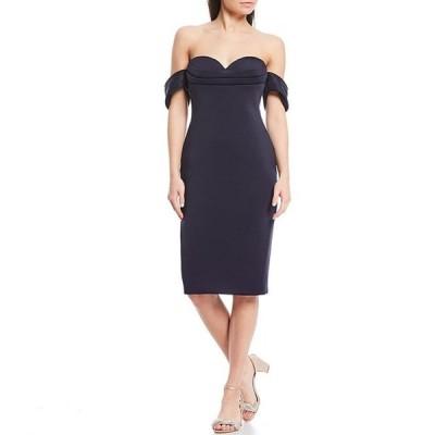 バッジェリーミシュカ レディース ワンピース トップス Off-The-Shoulder Cap Sleeve Pleat Detail Dress