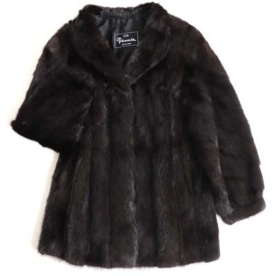 極美品▼SAGA MINK サガミンク 裏地花柄刺繍入り 本毛皮コート ダークブラウン 毛質艶やか・柔らか◎