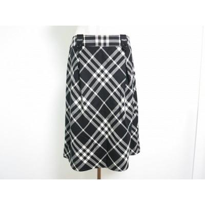 #anc バーバリー BURBERRY スカート 40 黒 白 チェック レディース [670657]