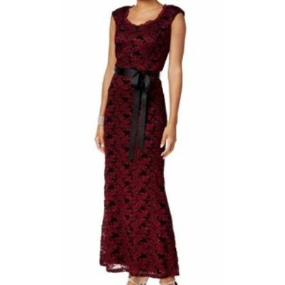 ファッション ドレス R&M Richards NEW Merlot Black Womens Size 12 Sparkle Lace Sheath Dress