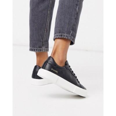 プルアンドベア レディース スニーカー シューズ Pull&Bear flatform sneakers in black Black
