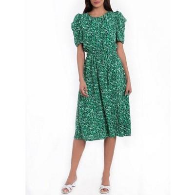 ロンドンタイムス レディース ワンピース トップス Short Puff Sleeve Crew Neck Printed Midi Dress