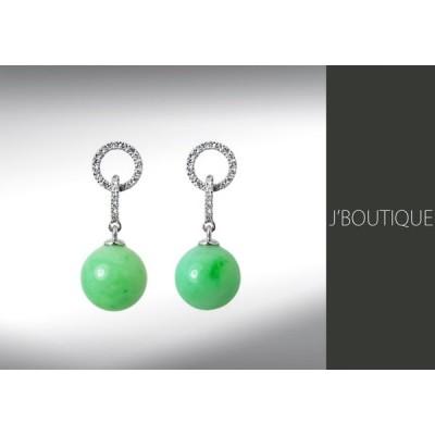 ジュエリー ピアス ボール 珠 薄明緑 K18ホワイトゴールド750、ダイヤモンド