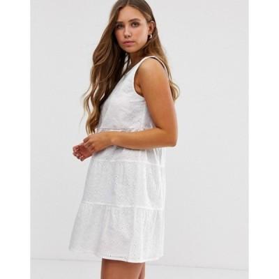 エイソス レディース ワンピース トップス ASOS DESIGN sleeveless tiered mini smock dress in broderie