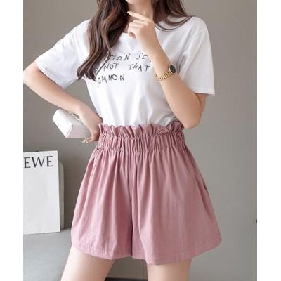 【メゾンドラティール】 たっぷりギャザーでスカートのようなショートパンツ レディース ピンク ONESIZE maison de LATIR