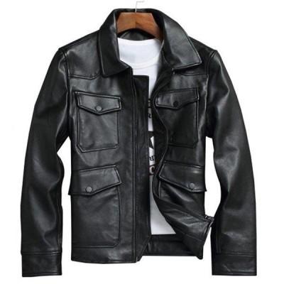 レザージャケット メンズジャケット 本革 牛革 S4L 黒 革ジャンメンズ ライダース ジャケット メンズジャケット 本革 ショート丈 バイクジャケット ブルゾン