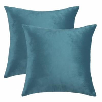uxcell ベルベット枕カバー 45cmx45cm 装飾 スロークッションカバー ユーロスクエア枕 ソファソファベッドチェア用 ティールブル
