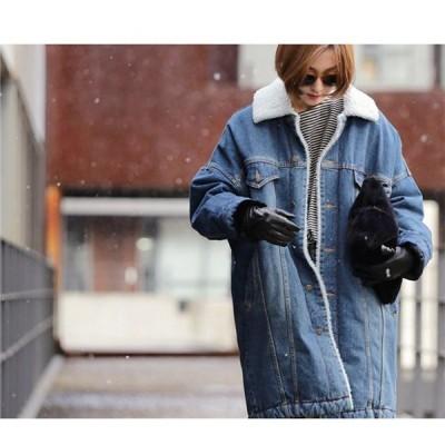 防寒着 レディース チェスターコート ジャケット デニム  コート コート 裏ボア レディース 裏起毛デニム アウター 冬 大きいサイズ ブランド 無地 ロング 147