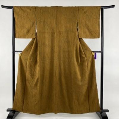 小紋 美品 名品 絞り 茶色 袷 身丈160.5cm 裄丈63cm S 正絹 中古
