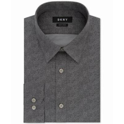 DKNY ダナキャランニューヨーク ファッション ドレス DKNY Mens Dress Shirt Gray Size 15 1/2 Floral Print Slim Fit Stretch