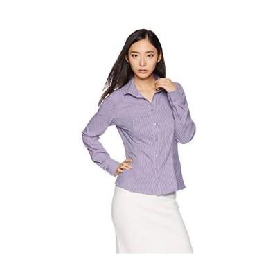 ナラ カミーチェ スーパーストレッチペンシルストライプスタンドカラーシャツ 10-82-01-046 レディース パープル 日本 S (日本