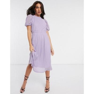 ワイエーエス レディース ワンピース トップス Y.A.S lace midi dress with puff sleeves in lilac