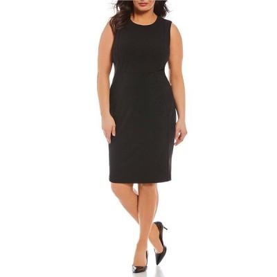 カルバンクライン レディース ワンピース トップス Plus Seam Front Sheath Dress Black