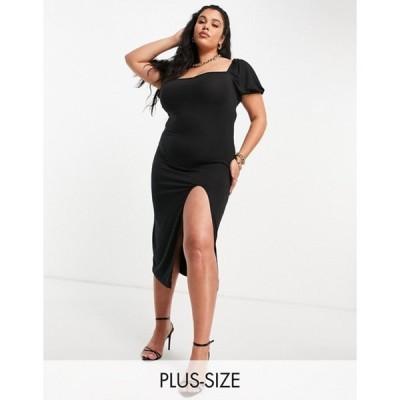 ミスガイデッド レディース ワンピース トップス Missguided Plus milkmaid midaxi dress with split in black