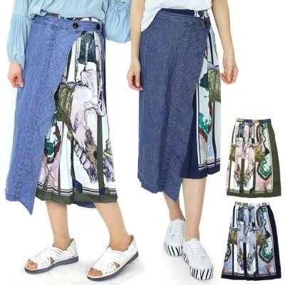 ラリアムー Lallia Mu デニム&オリジナルプリント デザイン スカート 2011870 レディース