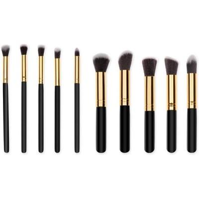 メイクブラシ 化粧筆 ケース付き 携帯用 化粧ブラシ フェイスブラシ人気 プレゼントに最適 10本セット (ブラック)