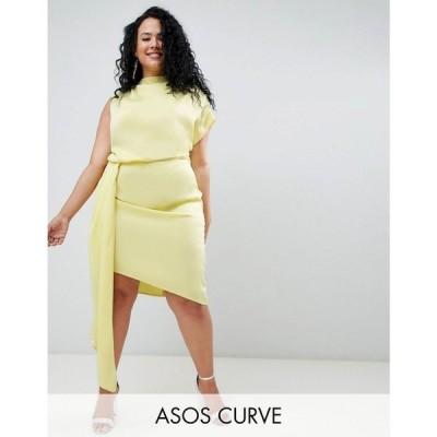 エイソス ASOS Curve レディース ワンピース ワンピース・ドレス ASOS DESIGN Curve satin drape midi dress with sash detail Lime