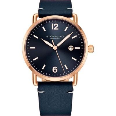 ストゥーリング Stuhrling メンズ 腕時計 Original Black Case, Black Dial, Brown Leather Strap Watch Black