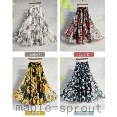 スカートロングスカートマキシスカートシフォンスカートレディース体型カバーゆったり花柄ロング丈ウエストゴム裏地有り夏90cm