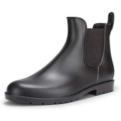 [IDIFU] レディース ファション 疲れない 防水 ラウンドトウ 滑り止め 雨靴 サイドゴア レインブーツ ブラウン 24 cm