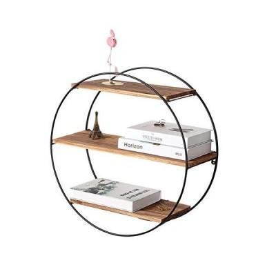Homode フローティングシェルフ 3段 幾何学模様 円形壁棚 木製と金属製吊り下げ棚 素朴な農家の装飾に