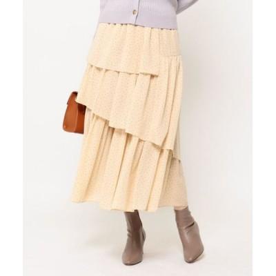Couture Brooch/クチュールブローチ ドットティアードスカート ライトベージュ(151) 42(LL)