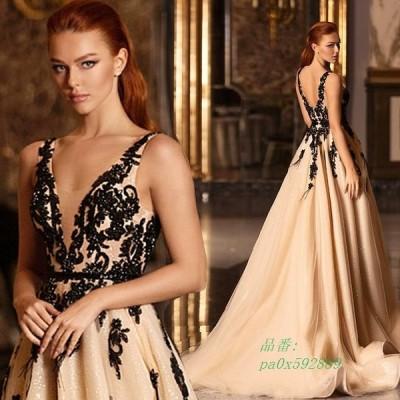 30代 40代 イブニングドレス Vネック ノースリーブ スパンコール ロングドレス 二次会 パーティードレス キレイめ 背開き お呼ばれ