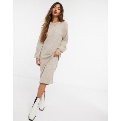 ワイ エー エス Y.A.S レディース ワンピース ミドル丈 ワンピース・ドレス brushed knit midi dress with balloon sleeves in beige ベージュ
