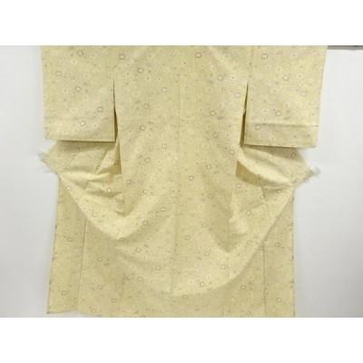 宗sou 草花模様織り出し手織り紬単衣着物【リサイクル】【着】