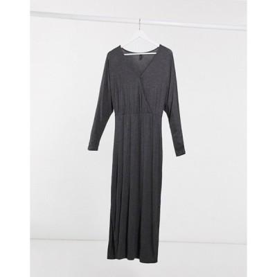 ワイエーエス レディース ワンピース トップス Y.A.S Winea wrap front maxi dress in gray