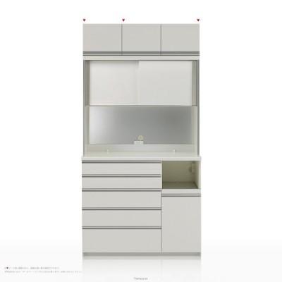 上棚付き食器棚 キッチンボード パモウナ KGシリーズ KGR-S1200R ハイカウンター [引き戸(スライド式扉)] (幅120cm, 奥行き45cm, 右側家電収納, パールホワイト)