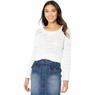 エリオットローレン レディース ニット&セーター アウター Stitch Fix Textured Stitch Open Crew Neck Sweater White